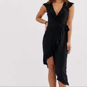 Frill Detail Wrap Midi Dress